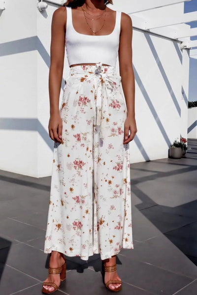 Lace-up printed high-waist wide-leg pants