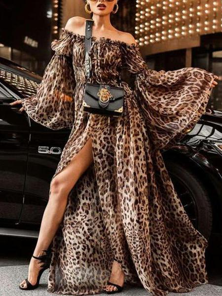 Off Shoulder Sexy Leopard Printed Flare Sleeve Maxi Dresses