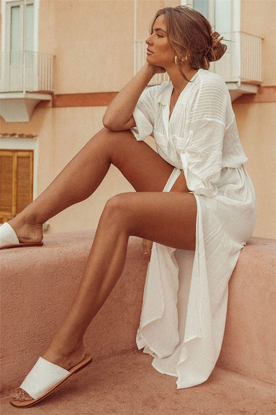 Belted shirt beach holiday cover-ups