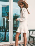 Vacation V-neck Long-sleeved Ruffled Mini Dress