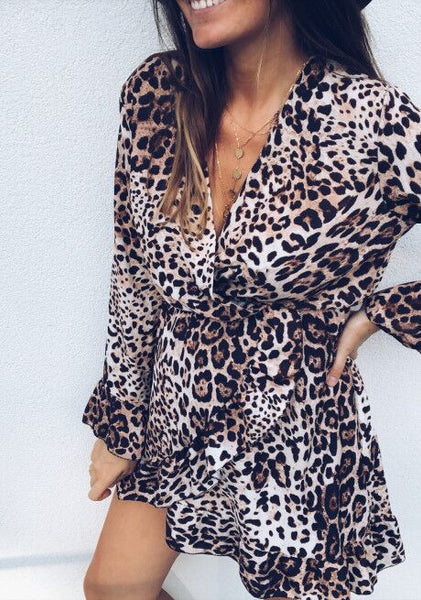 Leopard V-neck Flared Sleeve Ruffle Mini Dress-2color