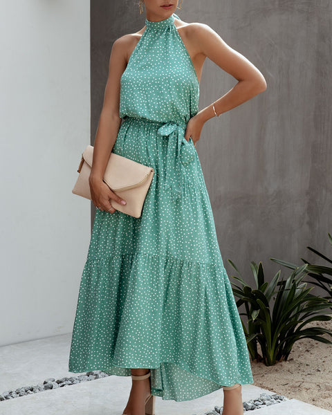 Polka Dot Halter Backless Maxi Dress-5color