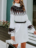 Vintage geometric print knitted sweater dress