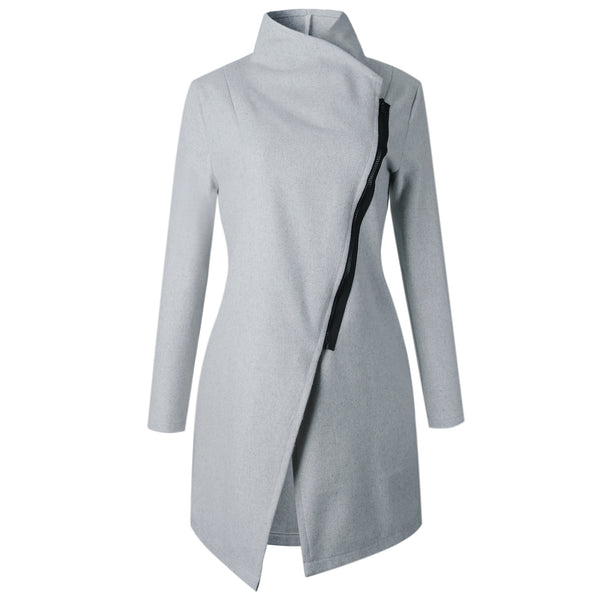 Fashion Zipper Irregular Women's Woolen Coat