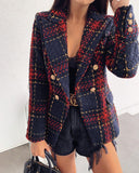 Buttoned V-Neck Plaid Coat