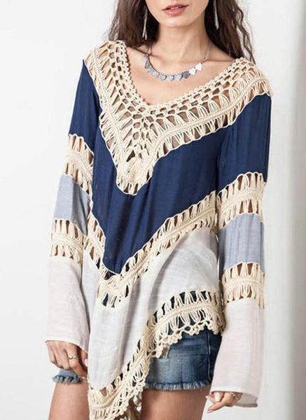 Hollow Out Loose Blouse Summer Women VNeck Long Sleeve Tops