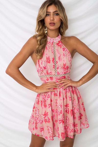 Pink Bohemian Backless Lace Dress