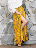 Woman Summer Skirts Chiffon Beach Flowers Long Bottom