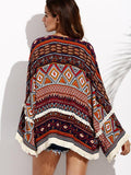 Women Bohemian Beach Blouse Flare Sleeve ONeck Tassel Top