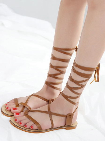 Cross-tied Flat Ankle Strap Bandage Sandals Boho Beach Sandals