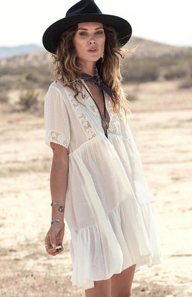 V-neck lace beach cover ups