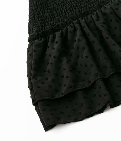 Black Polka Dot Flounce Dress