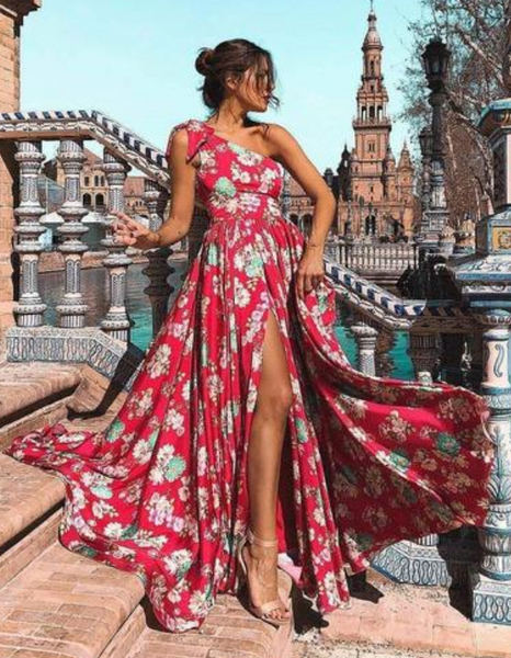 Bohemia Floral One-Shoulder Split Dress