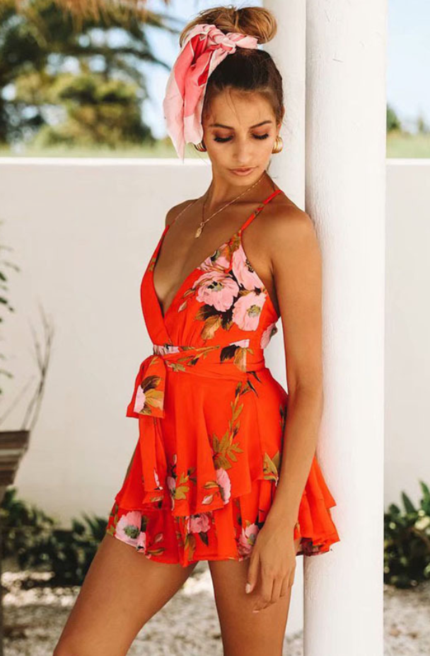 444028f8ab Red Peony Backless Print Romper – Stylnbo