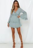 Solid Color Long-sleeve Halter Dress