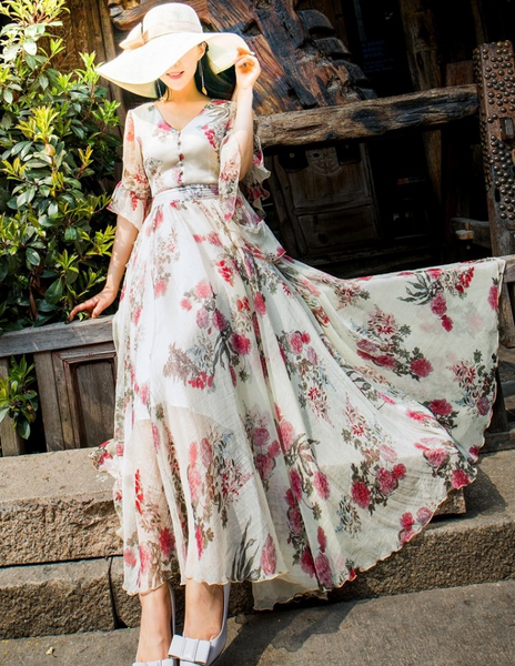 Chiffon Lovers Vacation Floral Dress