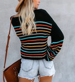 Striped Loose Fashion Pullover Sweater-2color