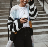 Rainbow Contrast Striped Knit Cardigan