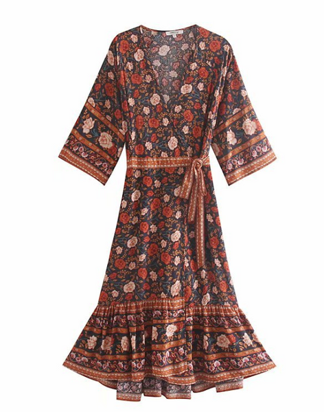 Floral printed Holiday Wind Maxi Dress