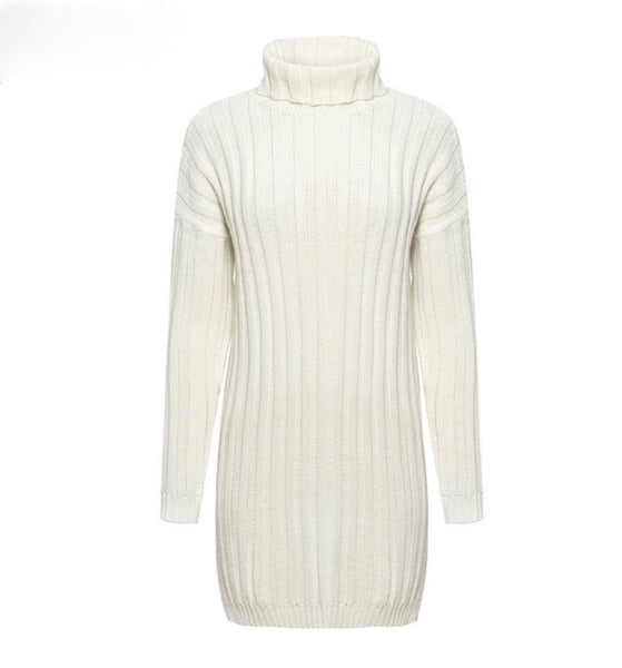 High Collar Vacation Sweater Dress-2color