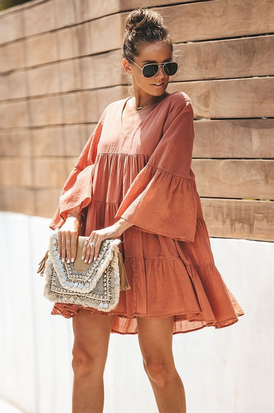 Street Loose Long-sleeved Mini Dress-2color
