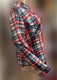 Plaid Pocket Lapel Long-sleeve Shirt