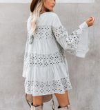 Dating Lace Stitching Mini Dress -4color