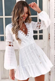 White Lace  Sexy Lace-up Mini Dress