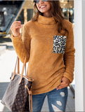 Leopard Stitching Pocket Sweatshirt-2color