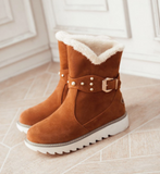 Scrub Velvet Belt Buckle Casual Snow Boots-3color
