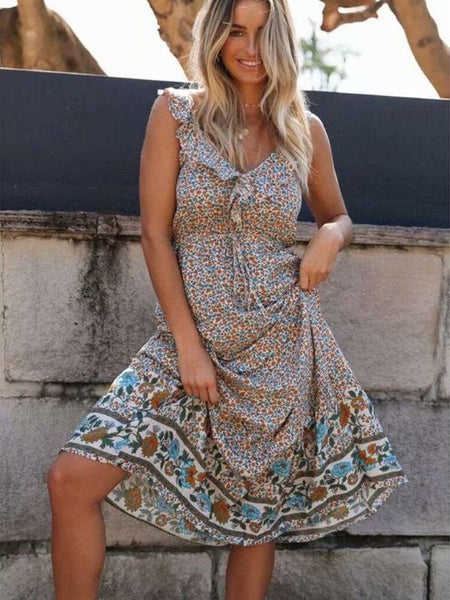Boho Floral Ruffle Strap V-neck Backless Print Midi Dress