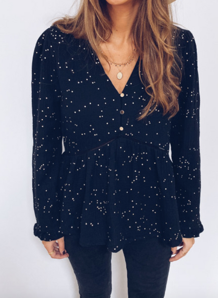 V-neck Long Sleeve Sequin Top-2color