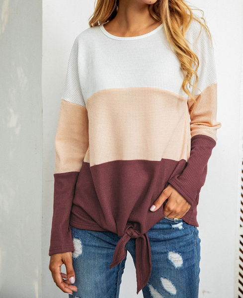 Long Sleeves Irregular Blouse-3color