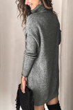 High Neck Pullover Long Sleeve Sweater Dress-2color