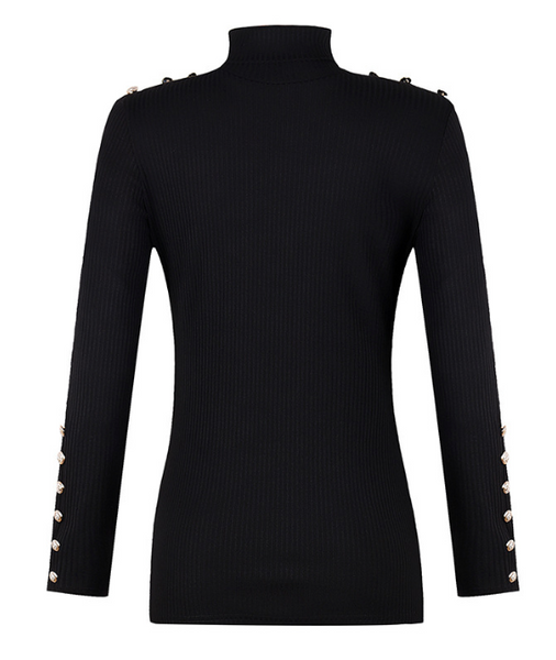 Button High Collar Bottoming Sweater-2color
