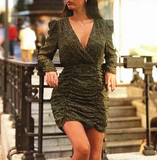Holiday Print Long Sleeve Bodycon Dress