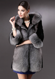 Hooded Fur Collar Fur Coat
