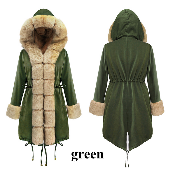 Fur Collar Hooded Fur Coat-6color