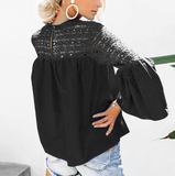 Solid Color Lace Cutout Blouse-3color