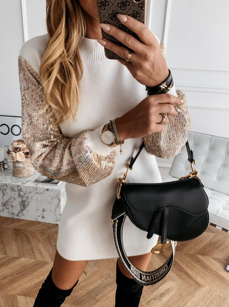 Knitted Sequined Long-sleeve Mini Sweater Dress