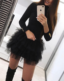 Sexy Gauze Stitching Sweater Mini Dress