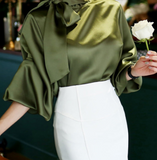 Bow Button Satin Loose Shirt-2color