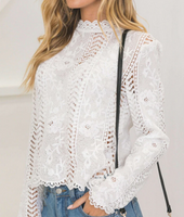 Lace Long Sleeve Round Neck Top
