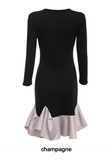Ruffled Long Sleeve Evening Mini Dress-2color