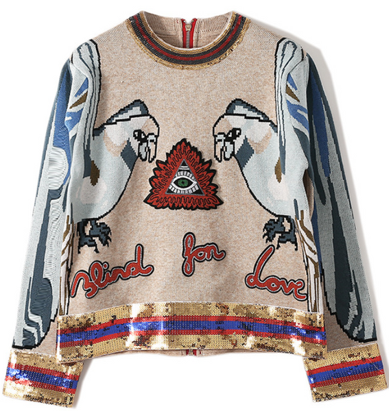 Parrot Sequined Embroidered Sweater