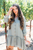 Bohemian Relaxed V-neck Shirt Dress-2color