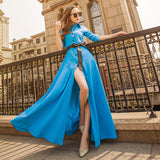 Single-breasted Solid Tie Maxi Dress-3color