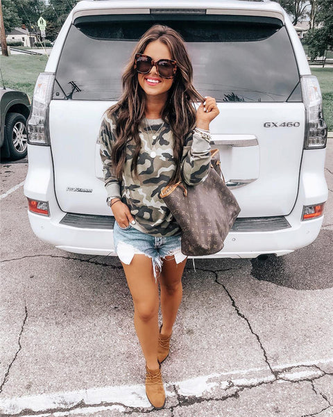 Camouflage Round Neck Sweatshirt-2color