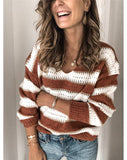 Casual V-neck Striped Sweater