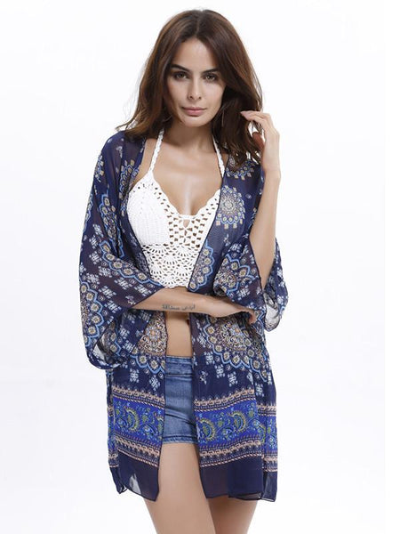Women Shirts Beach Party Cover Up Summer Chiffon Blouse